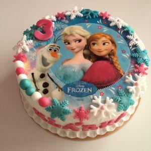 Dort bílý - Ledové královtsví s jedlým papírem Anna, Elsa a Olaf
