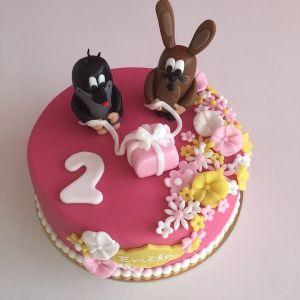 Růžový dort s krtečkem a zajícem