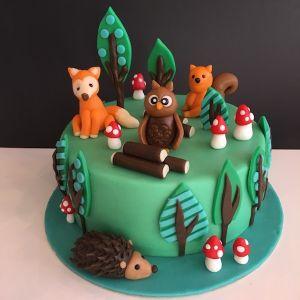 Lesní dort - lesní zvířátka - liška, sova, veverka, ježek