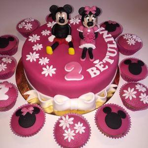 Dort růžový - Mickey a Minnie a cupcakes