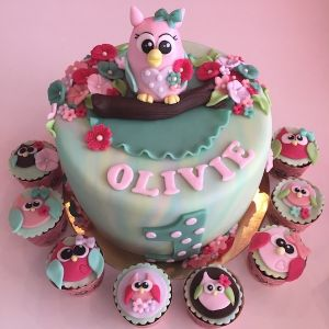 Dort sovička a cupcakes se sovičkama