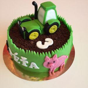 Zelený traktor - dort s prasátkem