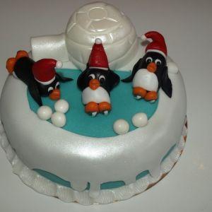 Tučňáci dort zimní